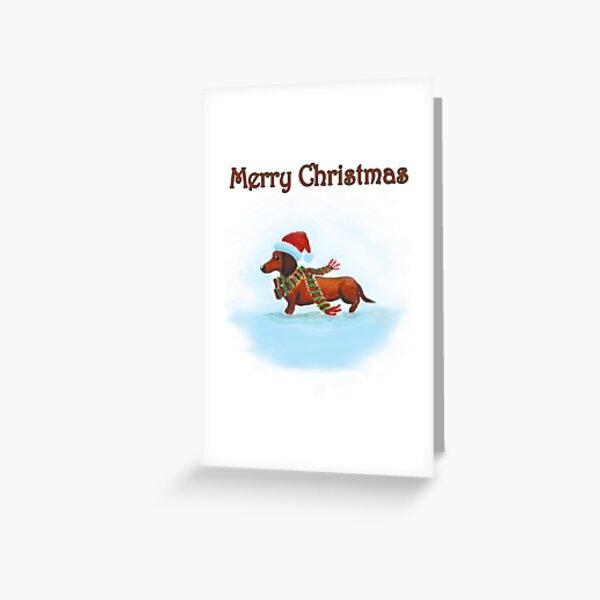 Dachshund Christmas Card Greeting Card