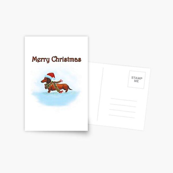 Carte de Noël de teckel Carte postale