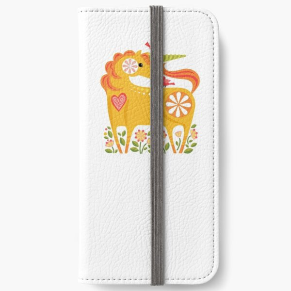 Happy Unicorn in Yellow by Robin Pickens iPhone Wallet
