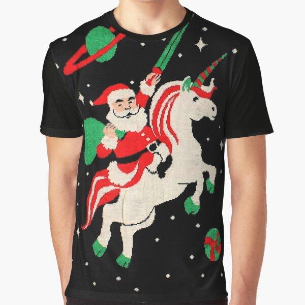 Santa and Unicorn Graphic T-Shirt