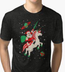Santa and Unicorn Tri-blend T-Shirt