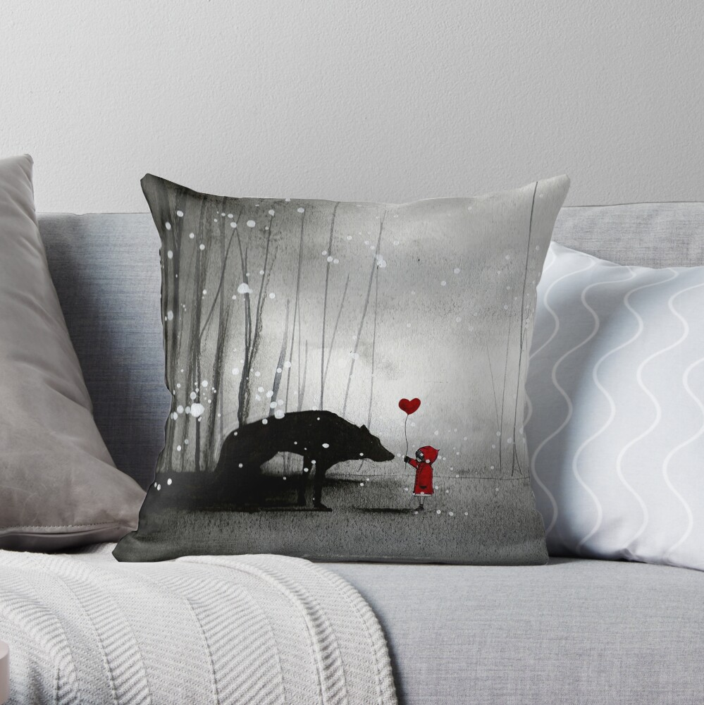 Little Red Riding Hood ~ I love You  Throw Pillow