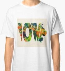 Iowa Typographic Watercolor Map Classic T-Shirt