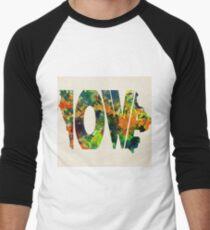 Iowa Typographic Watercolor Map Men's Baseball ¾ T-Shirt
