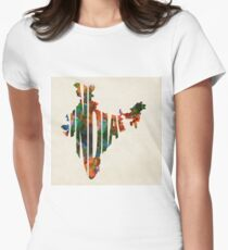 India Typographic Watercolor Map T-Shirt