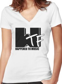 WTF Happened To Music Solid Women's Fitted V-Neck T-Shirt