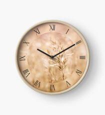 Sepia toned cereal grass macro Clock