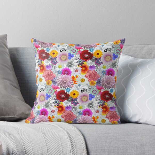 Beautiful Flowers Concoction Pattern Throw Pillow