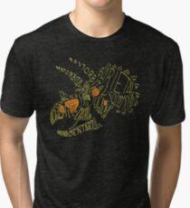 Analogous Colors Calligram Triceratops Skull Tri-blend T-Shirt