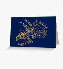 Analogous Colors Calligram Triceratops Skull Greeting Card