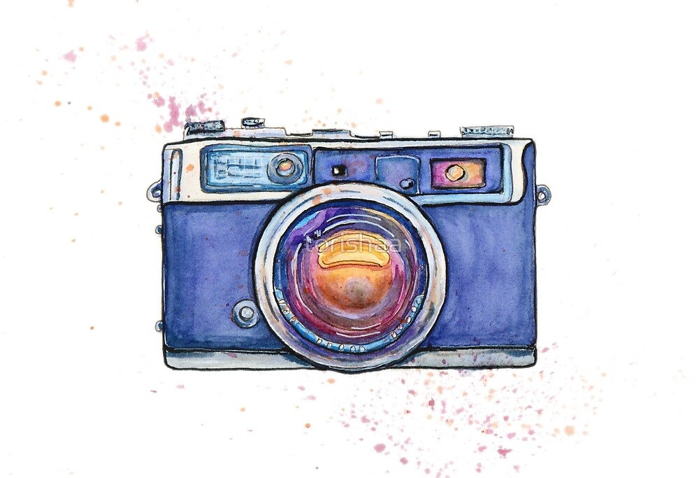 Watercolor vintage photo camera by torishaa