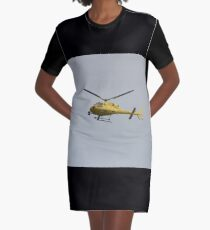 Yellow Helicopter Graphic T-Shirt Dress