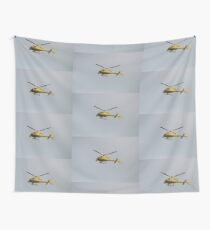 Yellow Helicopter Wall Tapestry