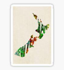 New Zealand Typographic Watercolor Map Sticker