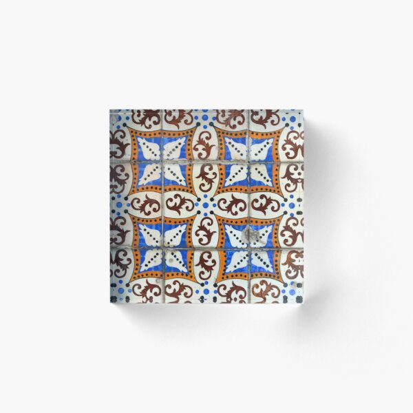 Blue gold and brown Portuguese azulejos Acrylic Block