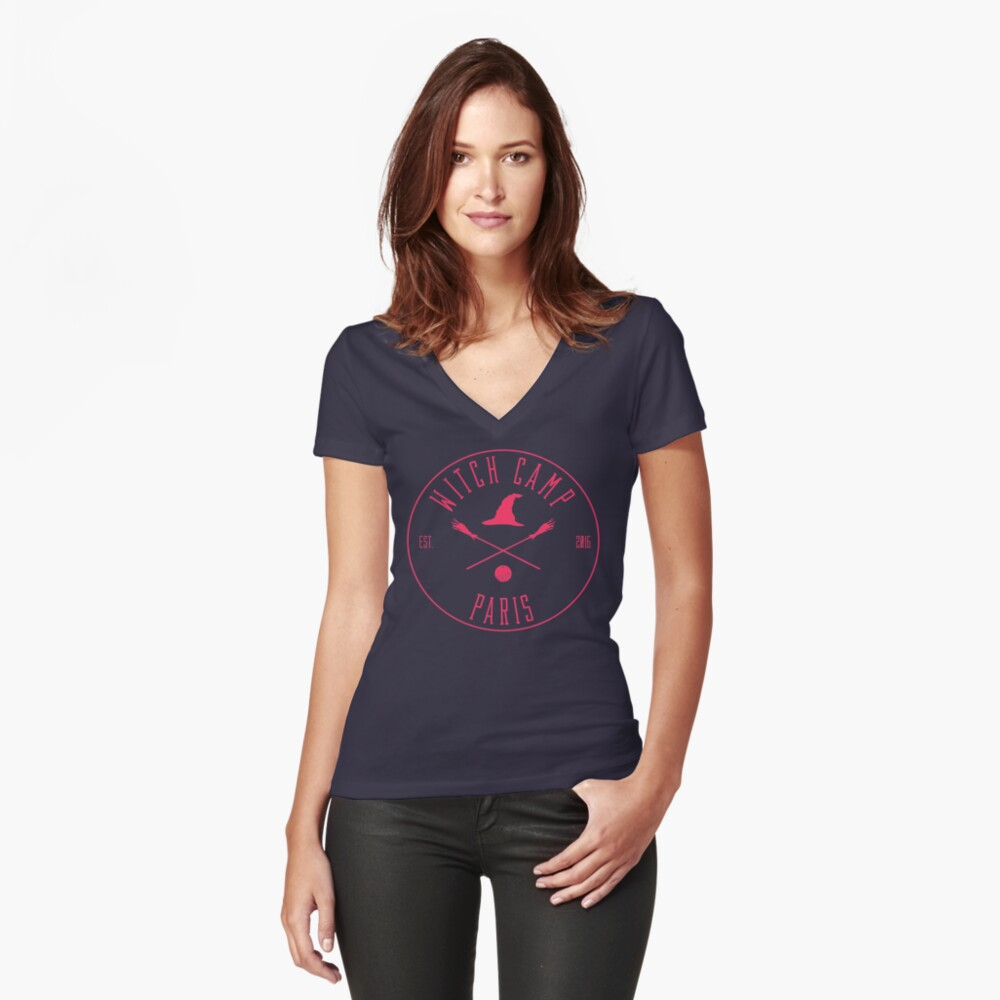 Witch Camp Paris (pink) Fitted V-Neck T-Shirt