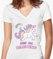 Unicorn Keep On Believing Women's Fitted V-Neck T-Shirt