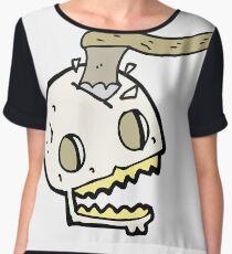 cartoon axe in skull Chiffon Top