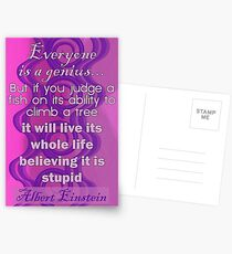 Everyone is a Genius... Albert Einstein Quote Postcards
