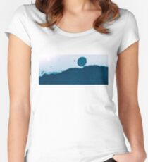 Cyanotype Abstract Landscape Women's Fitted Scoop T-Shirt