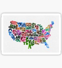 States of United States Typographic Map Sticker