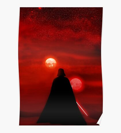 Star Wars Darth Vader Tatooine Sunset  Poster
