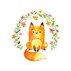 Flower the Fox is one of the Forest Friends nursery art set by Sandra O'Connor