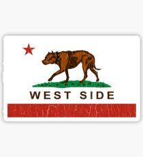 California Pit Bull West Side Flag  Sticker