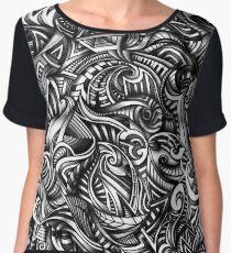 Gray Swirls Abstract Shaded Depth Zen Doodle Chiffon Top