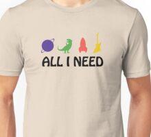 All I Need (Planet, Dinosaur, Rocket, Guitar) Unisex T-Shirt