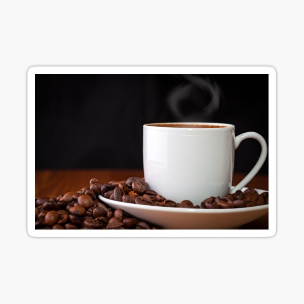 cup of coffee and coffee beans Sticker