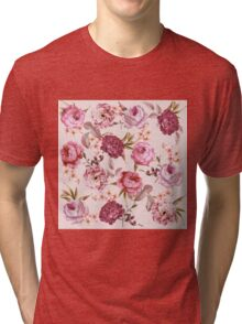 Blush Pink and Red Watercolor Floral Roses Tri-blend T-Shirt