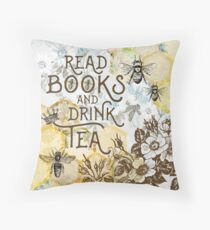 Bee Tea and Books  Throw Pillow