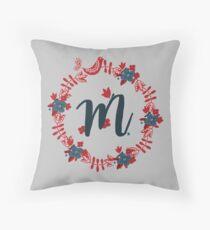 Scandinavian Monogram M Throw Pillow