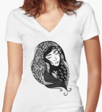 Artistic Asian Beauty Women's Fitted V-Neck T-Shirt