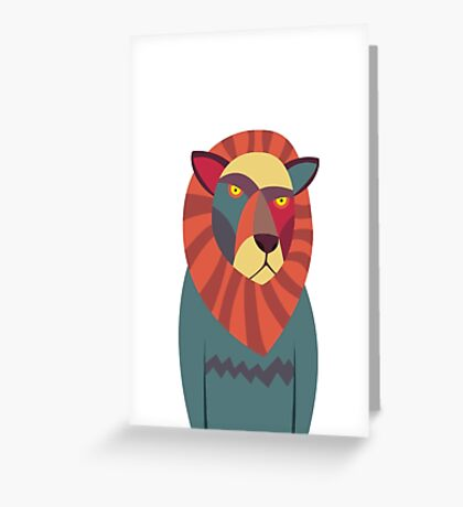 Hipster Lion Greeting Card