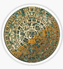 Ancient Mayan (Aztec) Calendar (Jade & Gold)  Sticker