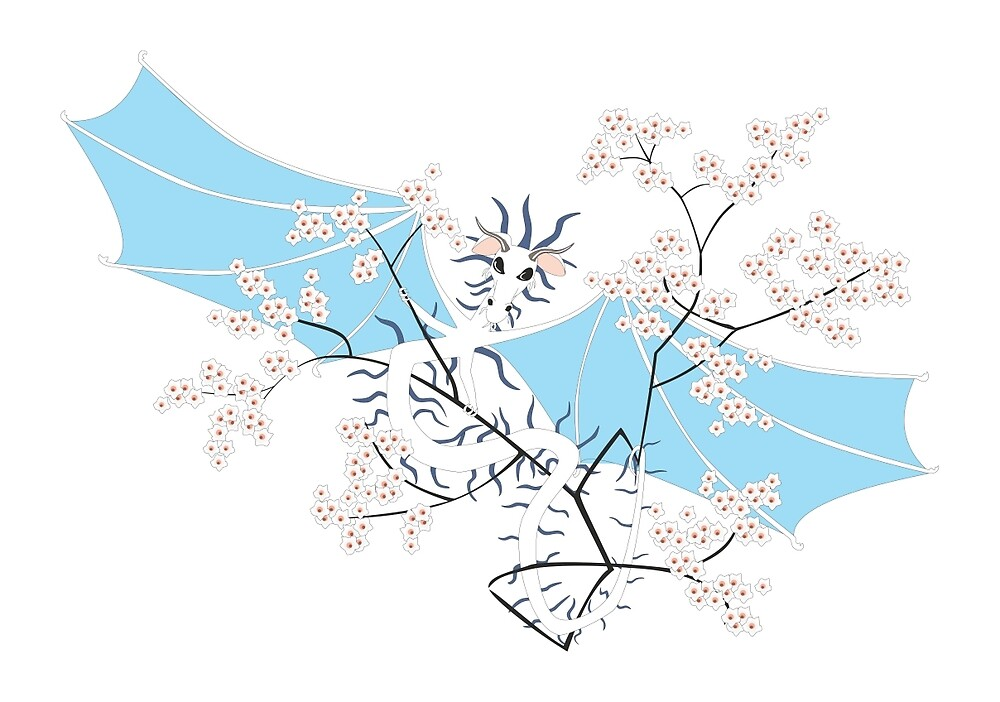 Cherry Tree Dragon - White and Blue by LastLittleBird