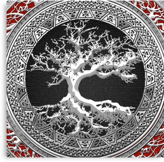 Schatzkiste Keltischer Baum Des Lebens Silber Leinwanddrucke Von
