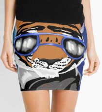 Cool Tiger with Sunglasses Space Mini Skirt