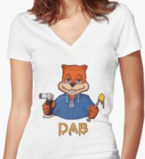 Squirrel Dab Women's Fitted V-Neck T-Shirt