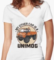 My other car is a Unimog - Orange Women's Fitted V-Neck T-Shirt