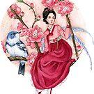 Peach Blossom Fairy and blue bird by meredithdillman