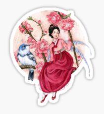 Peach Blossom Fairy and blue bird Sticker
