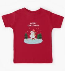 Cute Fun Snowman  and Merry Christmas Lettering Kids Tee