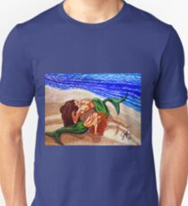 Mermaids Spent Beach Ocean Sea Waves Sandy Shells Female Figures Women Woman Swimmers Bathers Lovers Couple Beautiful T-Shirt