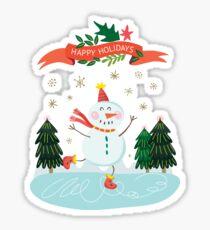 Cute Fun Snowman Merry Christmas  Sticker