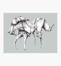 Grey Origami Horse Photographic Print