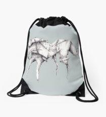 Grey Origami Horse Drawstring Bag