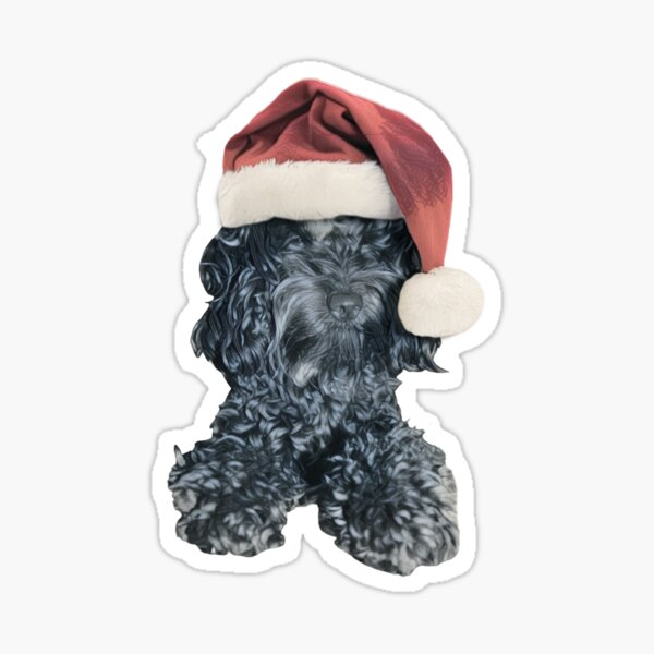 Cockapoo in a Christmas Santa Hat (Blue) Sticker